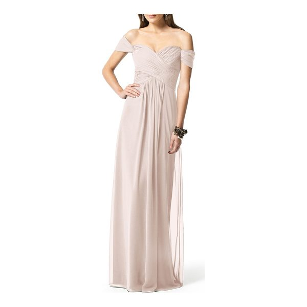 DESSY COLLECTION ruched chiffon gown - Softly draped cap sleeves barely touch the shoulders as...