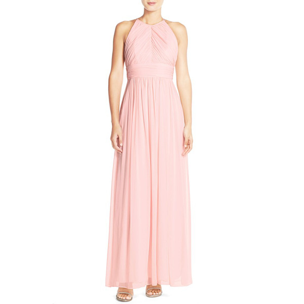DESSY COLLECTION ruched chiffon open back halter gown - A lovely gown of delicate chiffon is shaped with lush...