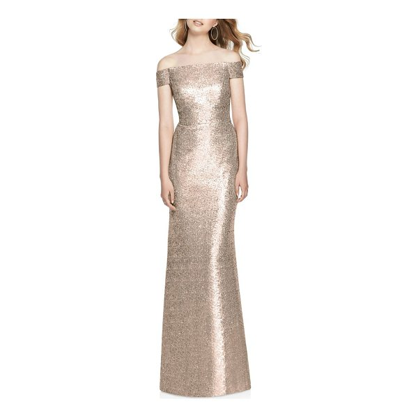 DESSY COLLECTION sequin off the shoulder gown - A blushing gown coated in shimmering sequins makes a...