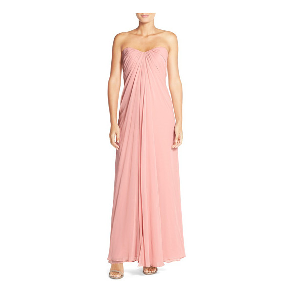 DESSY COLLECTION sweetheart neck strapless chiffon gown - A sculpted sweetheart neckline releases lushly draped...