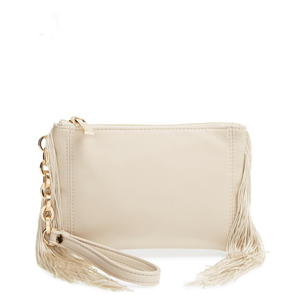 DEUX LUX Maggie fringe faux leather wristlet - Long, swingy fringe adds a boho twist to a neat zip-top...