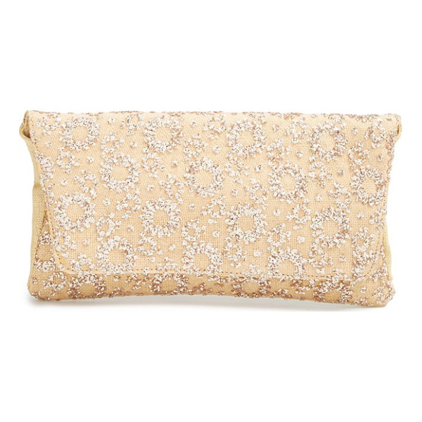 DEUX LUX Mimosa glitter clutch - Glittery geometric patterns flash and sparkle on a...