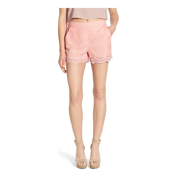 DEVLIN willow lace shorts - An intricate lace overlay puts a feminine twist on polished...