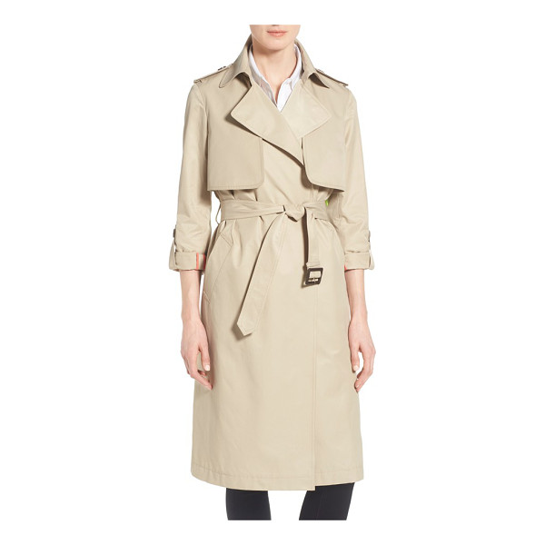 DIANE VON FURSTENBERG roll sleeve long belted trench coat - Equipped with button tabs to roll the sleeves, a wrap-front...