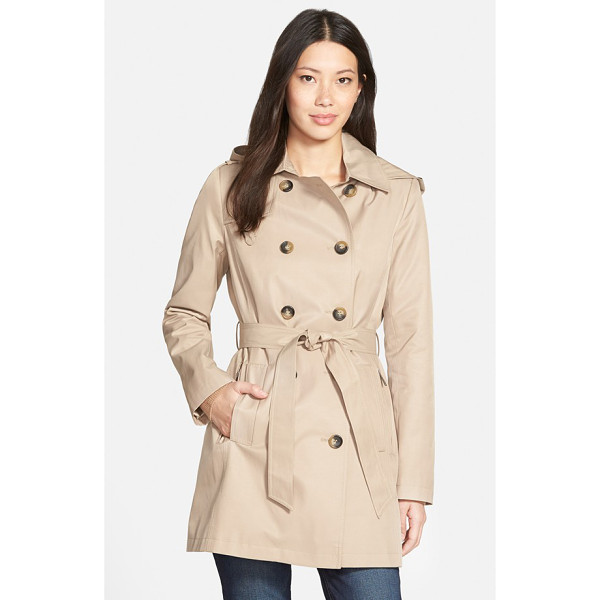 DKNY double breasted trench coat with removable hood - A three-quarter-length trench spans the seasons-and the...