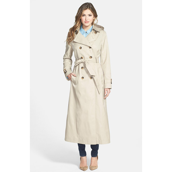DKNY lea double breasted maxi trench coat with detachable hood - An elegantly long trench is ready for spring showers with a...
