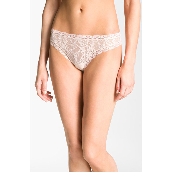 DKNY signature lace thong - Pretty floral lace overlays a simply styled low-rise thong.