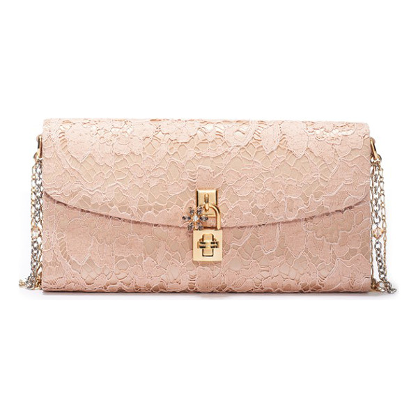 DOLCE & GABBANA Lace pouchette clutch - A starry crystal flower details the logo-etched padlock on...