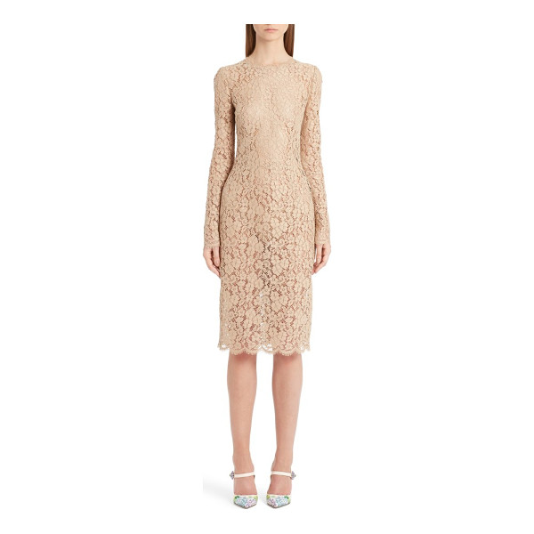 DOLCE & GABBANA lace sheath dress - Champagne-hued guipure lace from neckline to hem adds...