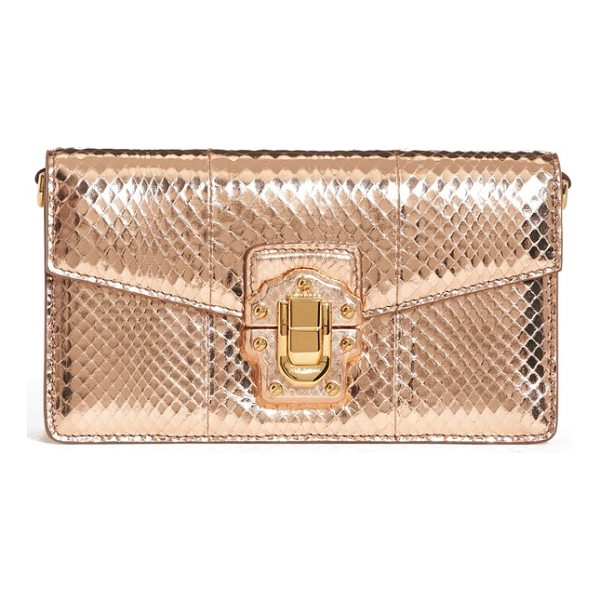 DOLCE & GABBANA lucia genuine snakeskin crossbody clutch - Shimmering genuine snakeskin constructs a glamorous clutch...