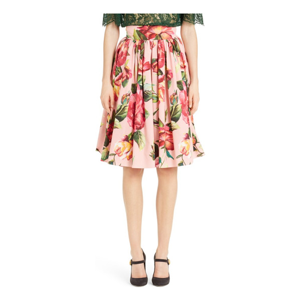 DOLCE & GABBANA rose print poplin skirt - Topped with a wide, fitted waistband that gives way to...