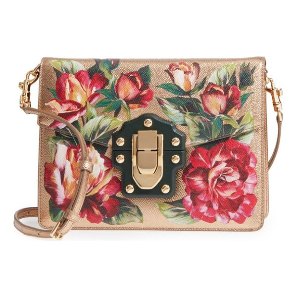 DOLCE & GABBANA small lucia floral metallic leather crossbody bag - Lush flowers in full bloom stand out against the gilded...