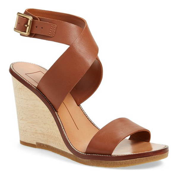 DOLCE VITA havana wedge sandal - A lofty woodgrain wedge heightens the casual sophistication...
