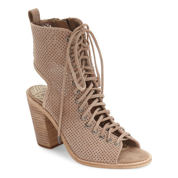DOLCE VITA lira lace-up open toe bootie - Utilitarian-inspired laces weaving through gunmetal...