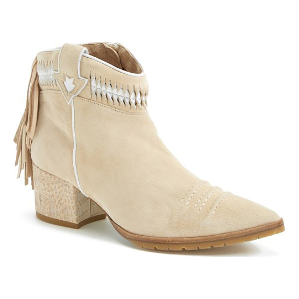 DONALD & LISA SIGNATURE flanna suede pointy toe bootie - Saddle up in a lavish, hand-stitched suede bootie crafted...