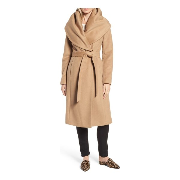 DONNA KARAN dkny wool blend shawl collar wrap coat - A wide, face-framing shawl collar adds elegant drama to a...