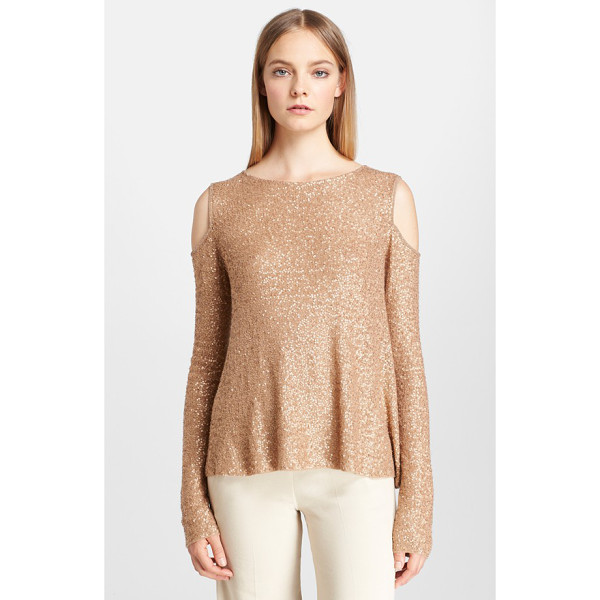 DONNA KARAN sequin cold shoulder cashmere top - Glittering blush-toned sequins light up a softly draped,...