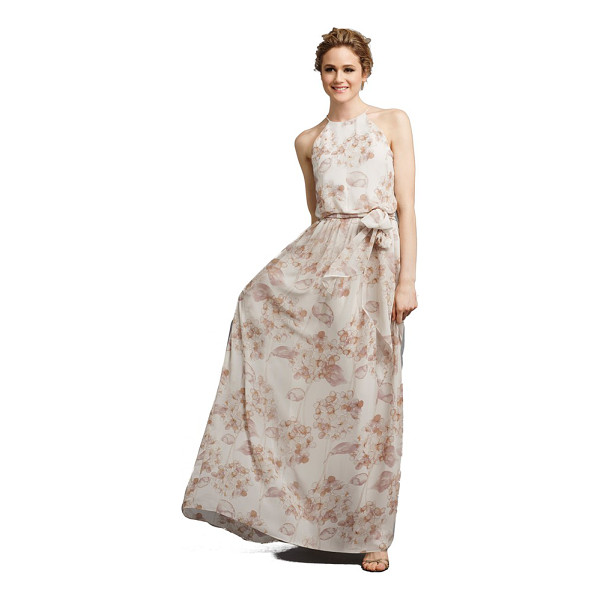 DONNA MORGAN alana print chiffon halter style gown - From the Serenity collection by Donna Morgan, a lovely...