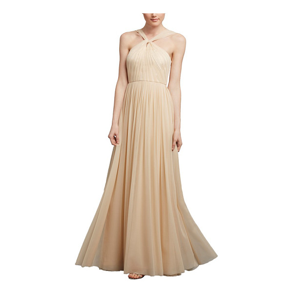 DONNA MORGAN ava halter style mesh a-line gown - Evoking an air of vintage glamour and romance, a lavishly...