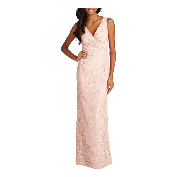 DONNA MORGAN lark surplice bodice lace column gown - The gathered surplice bodice of an elegant embroidered-lace...