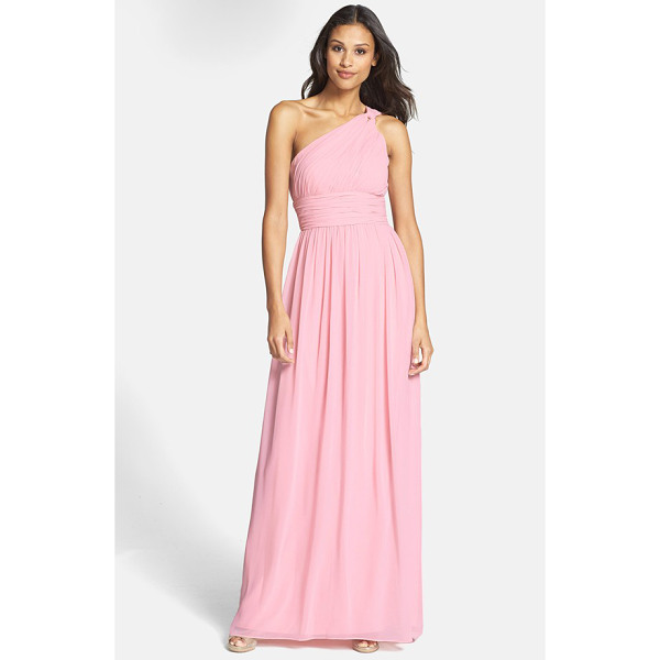 DONNA MORGAN rachel ruched one-shoulder chiffon gown - An elegantly knotted shoulder gathers the pleated bodice of...