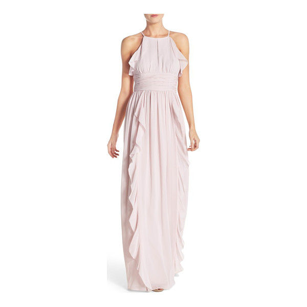 DONNA MORGAN skye ruffle trim a-line gown - A chiffon gown moves with fluttery elegance as soft,...