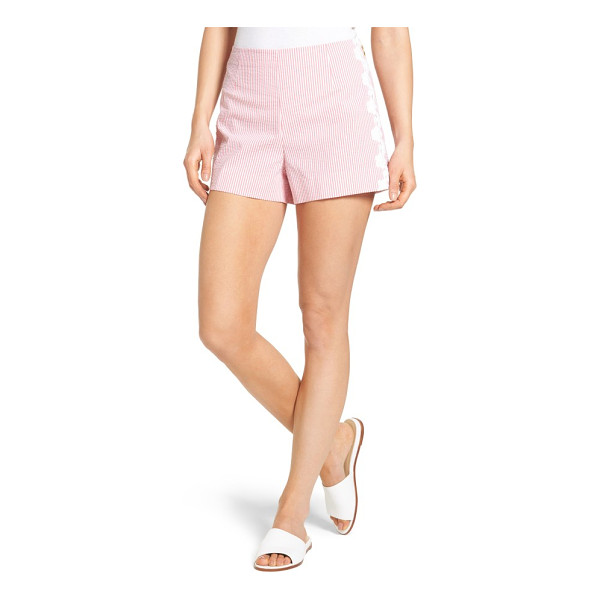 DRAPER JAMES seersucker shorts - Lacy flowers frame the sides of a pair of neatly tailored...
