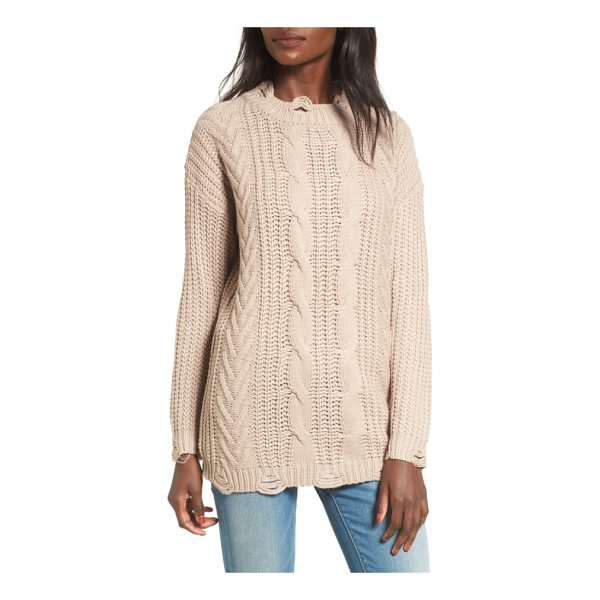 DREAMERS BY DEBUT distressed cable knit sweater - Distressed patches line the neck, cuffs and hem of a cozy...