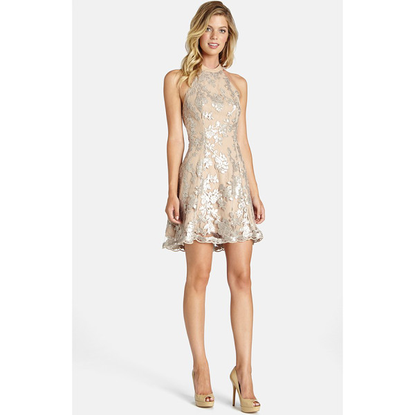 DRESS THE POPULATION abbie minidress - This fit-and-flare dress with a high neckline and low-cut...