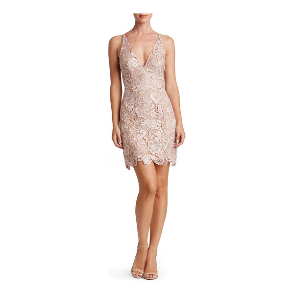 DRESS THE POPULATION allie sheath dress - Intricate, lustrous lace skims the hourglass silhouette of...
