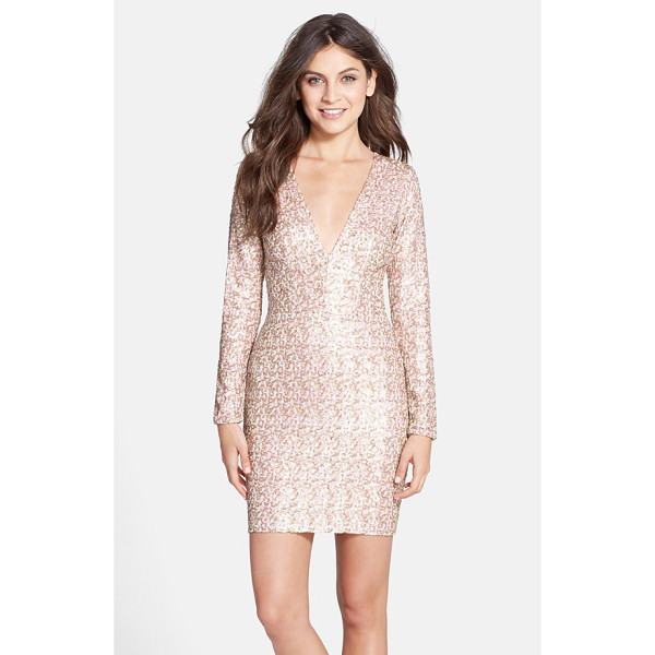 DRESS THE POPULATION bridget sequin v-neck body-con dress - Two-tone sequins illuminate the curve-flaunting silhouette...
