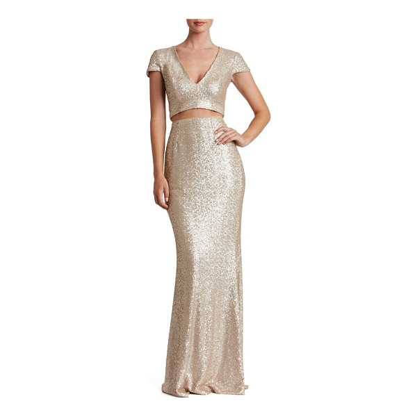 DRESS THE POPULATION cara two-piece gown - Bring out that figure in a modern evening gown doused in...