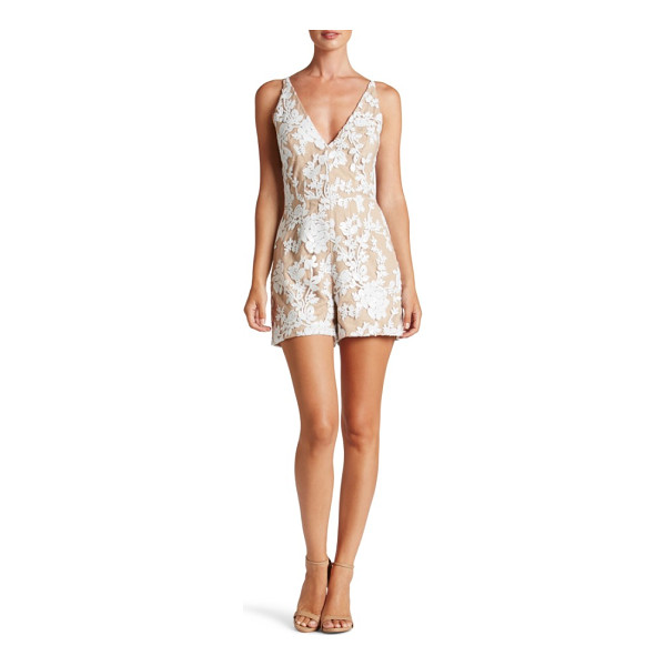 DRESS THE POPULATION carly romper - This leggy romper scintillates in sequined lace, darted to...