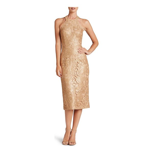 DRESS THE POPULATION cassie sequin midi dress - Shimmering sequins light up the elegant lace in this...