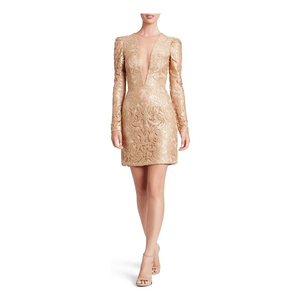 DRESS THE POPULATION claudia plunging illusion sequin lace minidress - Glimmering sequins illuminate the curve-hugging design of a...