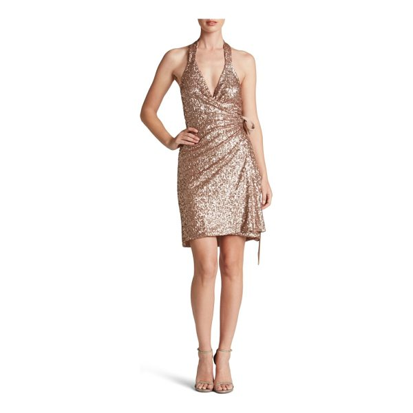 DRESS THE POPULATION danielle sequin wrap mini dress - Shimmering sequins light up this figure-flattering dress...
