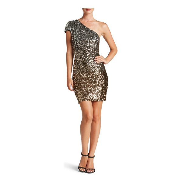 DRESS THE POPULATION debbie ombre sequin one-shoulder dress - Oodles of sequins subtly shift color as they travel your...