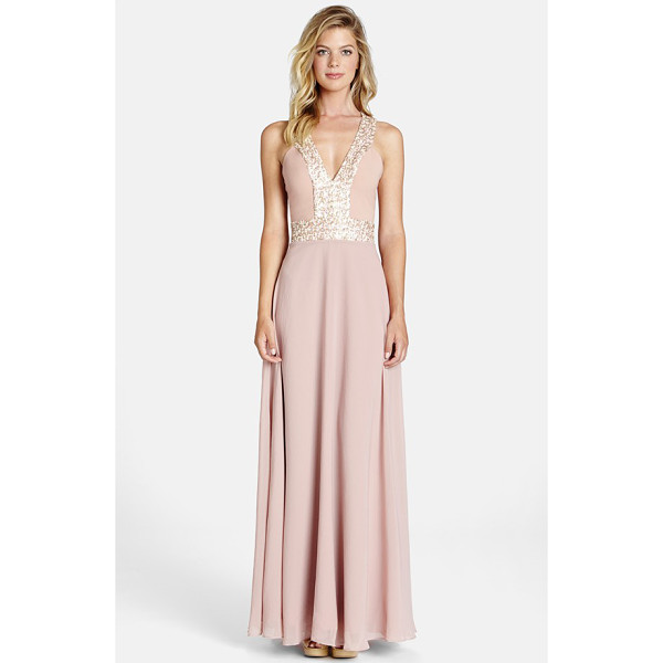 DRESS THE POPULATION delani crepe gown - Twinkling sequins frame the decolletage, flattering the...