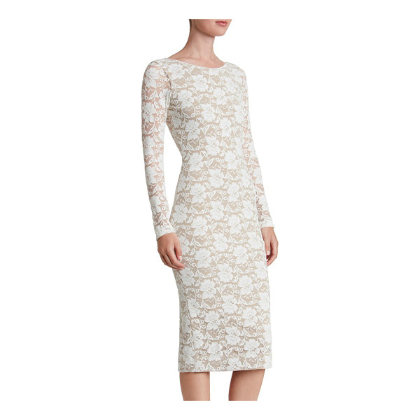 DRESS THE POPULATION emery lace body-con midi dress - Lavish floral lace hugs and highlights feminine curves...