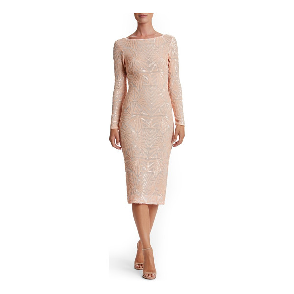 DRESS THE POPULATION emery midi dress - Densely sewn sequins paint mesmerizing Art Deco-inspired...
