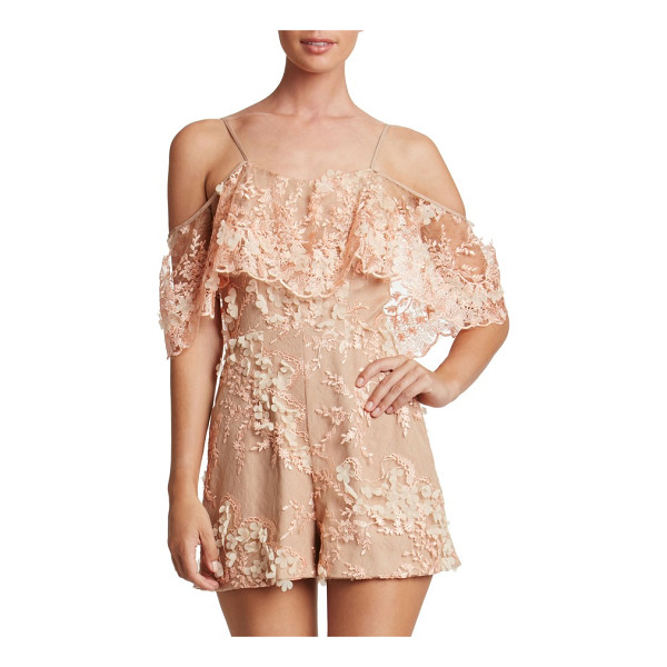 DRESS THE POPULATION francesca romper - Float into the party in this floral-appliqued romper...