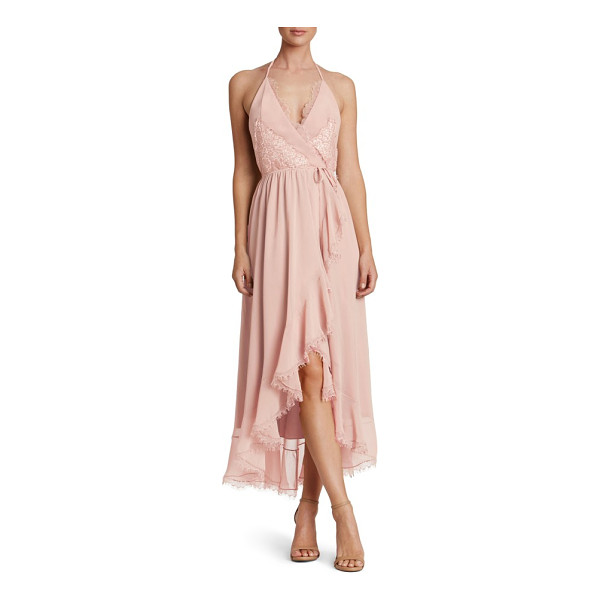 DRESS THE POPULATION gia backless chiffon wrap dress - A flowy midi dress that's tied at the waist to sculpt an...