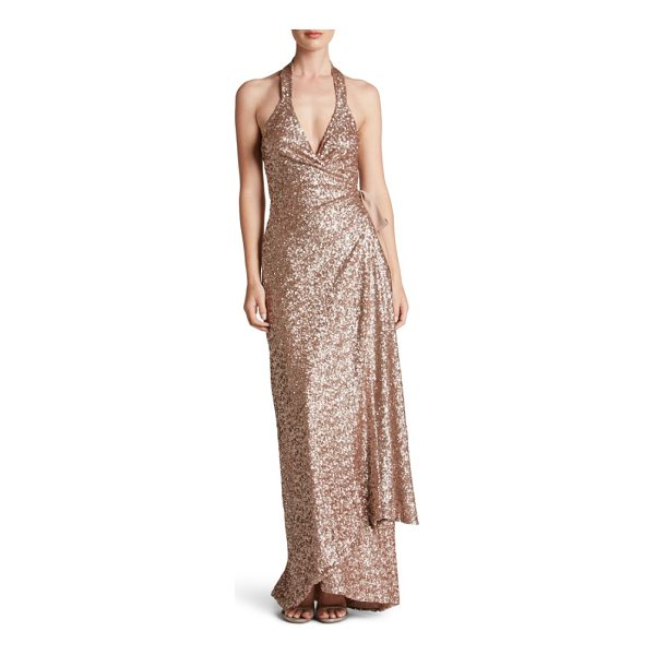 DRESS THE POPULATION giselle sequin wrap gown - Shimmering sequins glisten over every curve flaunted by...