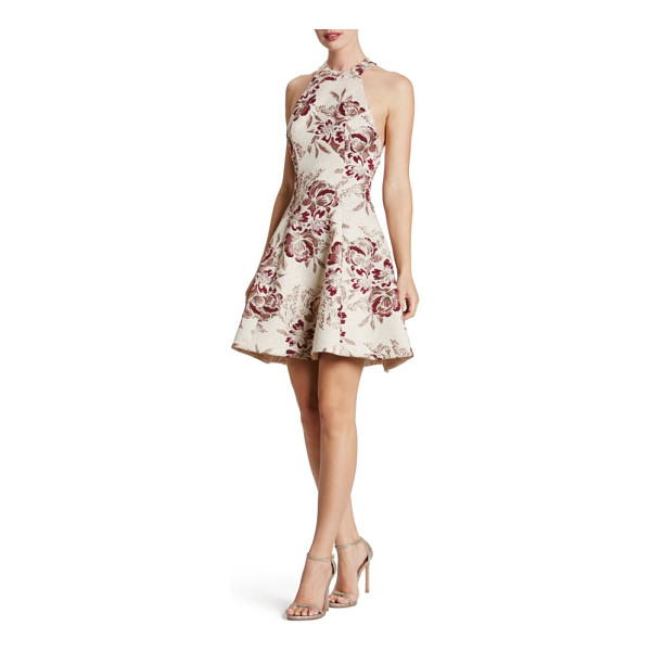 DRESS THE POPULATION hannah fit & flare dress - Floral brocade glistens with flattering texture around this...