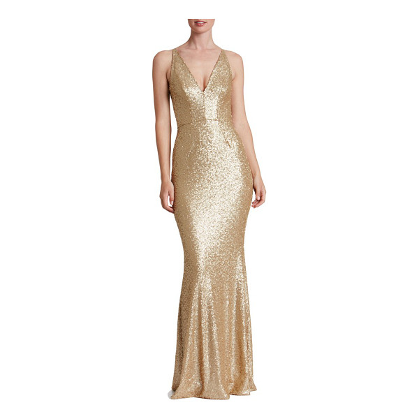 DRESS THE POPULATION harper mermaid gown - Satin-finish sequins glisten over every curve flaunted by...
