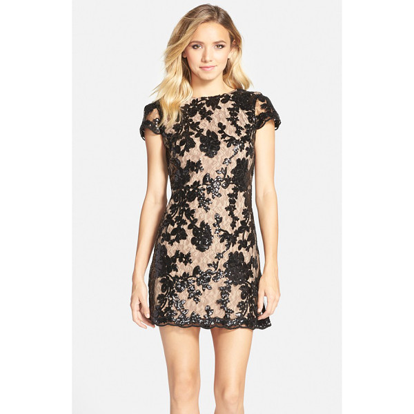 DRESS THE POPULATION hope lace sheath dress - Sequined flowers and a gently scalloped hemline underscore...