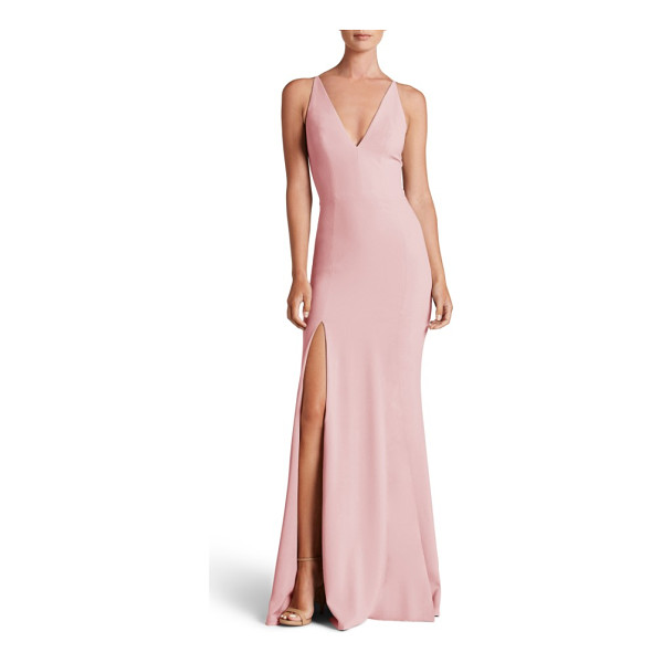 DRESS THE POPULATION iris slit crepe gown - Create a bit of drama on the dance floor as you twist and...