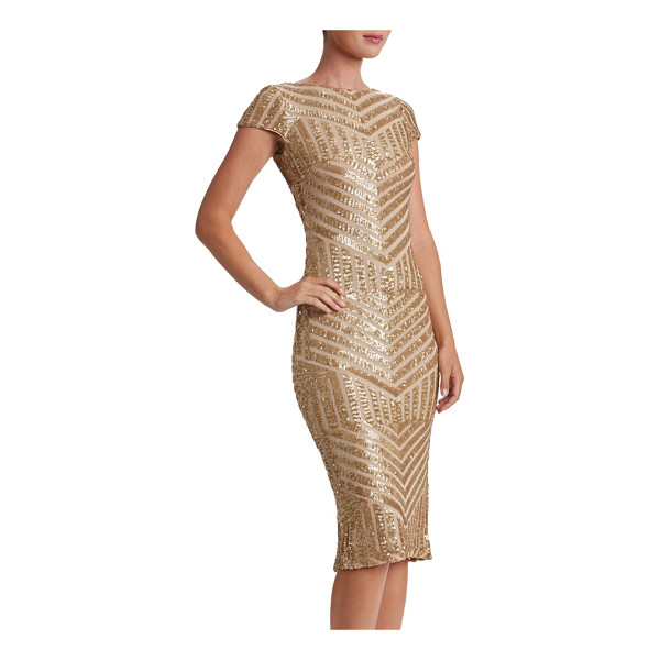 DRESS THE POPULATION katerina body-con dress - Densely sewn sequins paint mesmerizing Art Deco-inspired...
