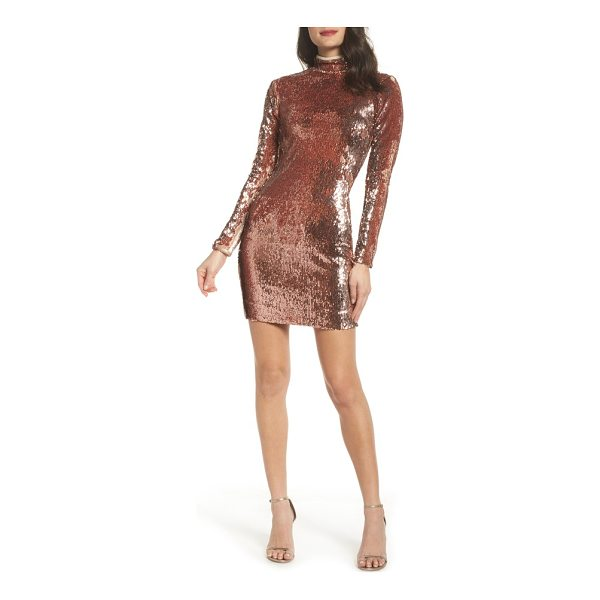 DRESS THE POPULATION katy reversible sequin body-con dress - Customize your shine in this chic, streamlined body-con...
