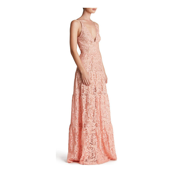 DRESS THE POPULATION melina lace fit & flare maxi dress - Colorful lace traced in gold enchants and delights a...